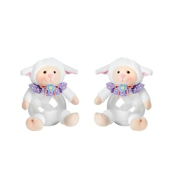 Purple Collar Plush Lamb Belly Containers, Set of 2