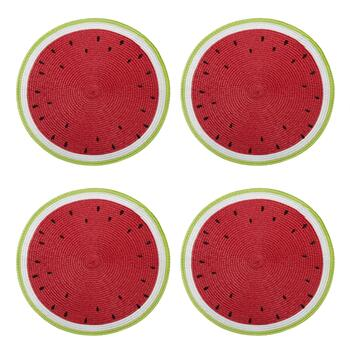 "14.5"" Watermelon Round Ribbed Placemats, Set of 4"