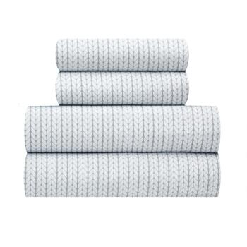 Flannel Rooster™ Warm White/Gray Chevron Sheet Set