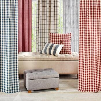 Farmhouse Curtains & Pillow-Top Ottomans