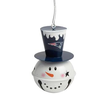 New England Patriots Tophat Snowman Jingle Bell Ornament