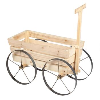 "24"" Wood Rolling Garden Wagon"