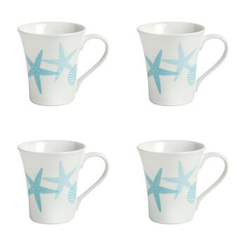 Turquoise Coastal Starfish Mugs, Set of 4 view 1