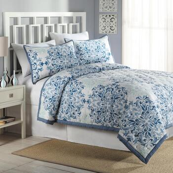 Sadie Blue Medallion Reversible Twin Quilt
