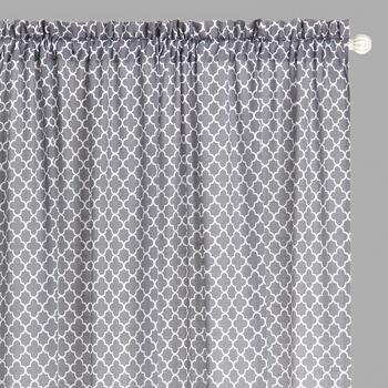 "Traditions by Waverly® 84"" Gray Moroccan Rod Pocket Window Curtains, Set of 2"