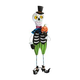 "28"" Standing Metal Day of the Dead Skeleton Man Decor"