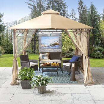 10' Outdoor Gazebo & Melbourne Patio Chat Set