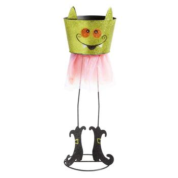 "27"" Green Vampire Glittered Bucket with Stand"