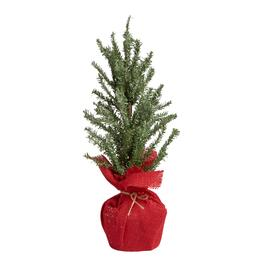 20 snowy faux twig red burlap bottom tree - Indoor Decorative Christmas Trees