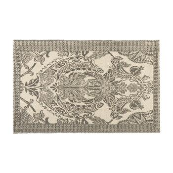 "27""x45"" Beige/Gray Floral Cotton Area Rug"