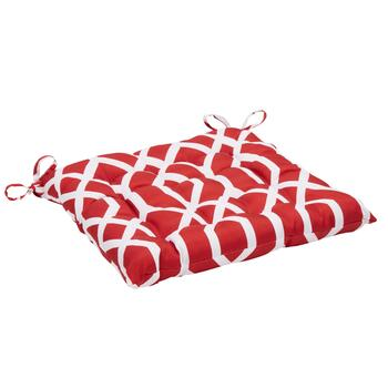 Red Geometric Indoor/Outdoor Tufted Square Seat Pad
