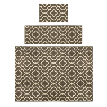 Gray Ogee Printed Rug Set, 3-Piece