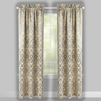 Geo Jacquard Blackout Window Curtains, Set of 2 view 2