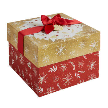 Red/Gold Snowflakes Square Gift Box with Bow view 1