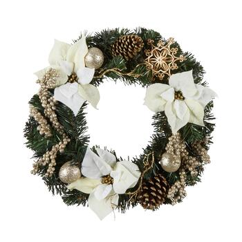 "22"" White Poinsettia and Berries Wreath"