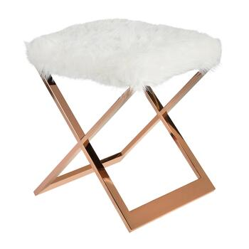 White Fur Short Bench