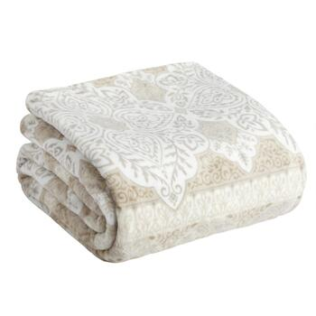 Taupe Floral Medallion Warm Throw Blanket