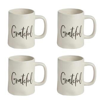 "The Grainhouse™ 8-Oz. ""Grateful"" Ceramic Mugs, Set of 4"