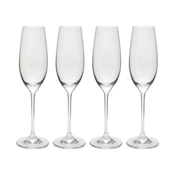 6-oz. European Champagne Flute Glasses, Set of 4