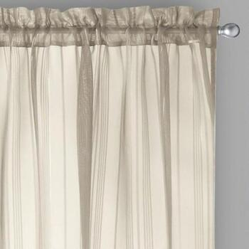 "84"" Lurex Stripe Rod Pocket Window Curtains, Set of 2"
