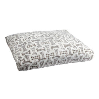 Gray/White Dog Bones Fleece Pet Bed view 1