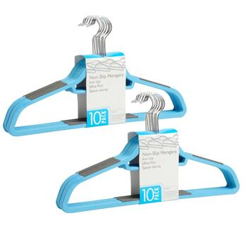 10-Pack Slim Plastic Hangers, Set of 2