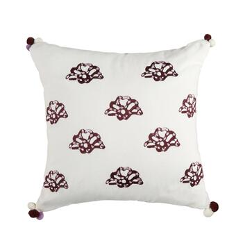 Anthology® Arianna Embroidered Fans Square Throw Pillow with Pom-Poms