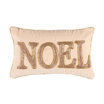 "Pink/Gold ""Noel"" Beaded Oblong Throw Pillow view 1"