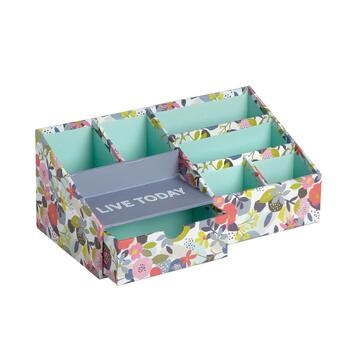 "11.5"" ""Live Today"" Floral 6-Section Desk Organizer"