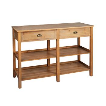 The Grainhouse™ Natural Finish 2-Drawer/2-Shelf Console Table