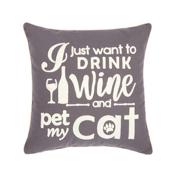 """Drink Wine and Pet My Cat"" Square Throw Pillow view 1"