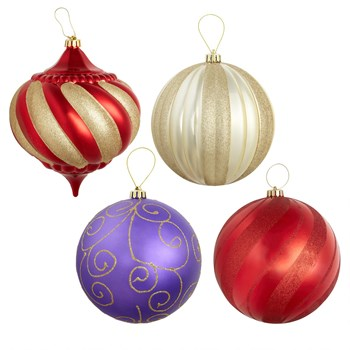 Jumbo Round Sparkle Shatterproof Ornaments, Set of 4 - Christmas ...