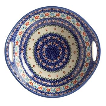Anita Floral Polish Pottery Serving Bowl with Handles view 2