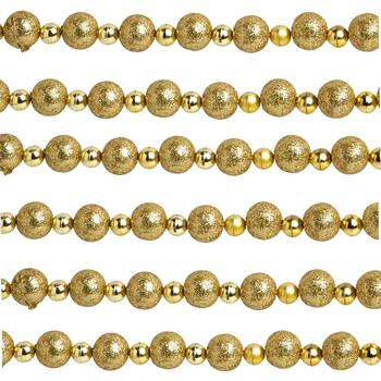 12' Gold Glittered Bead Garlands, Set of 2