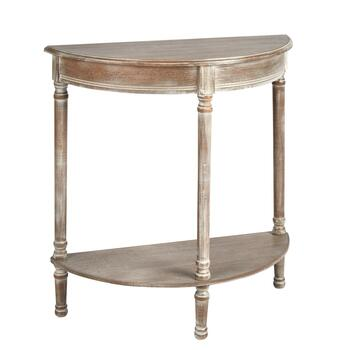 Weathered White Half-Round Console Table with Shelf