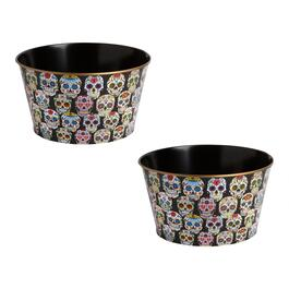 "13"" Day of the Dead Skulls Decoupage Candy Buckets, Set of 2"