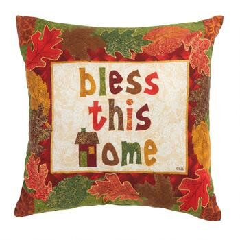 """Bless This Home"" Leaf Applique Throw Pillow"
