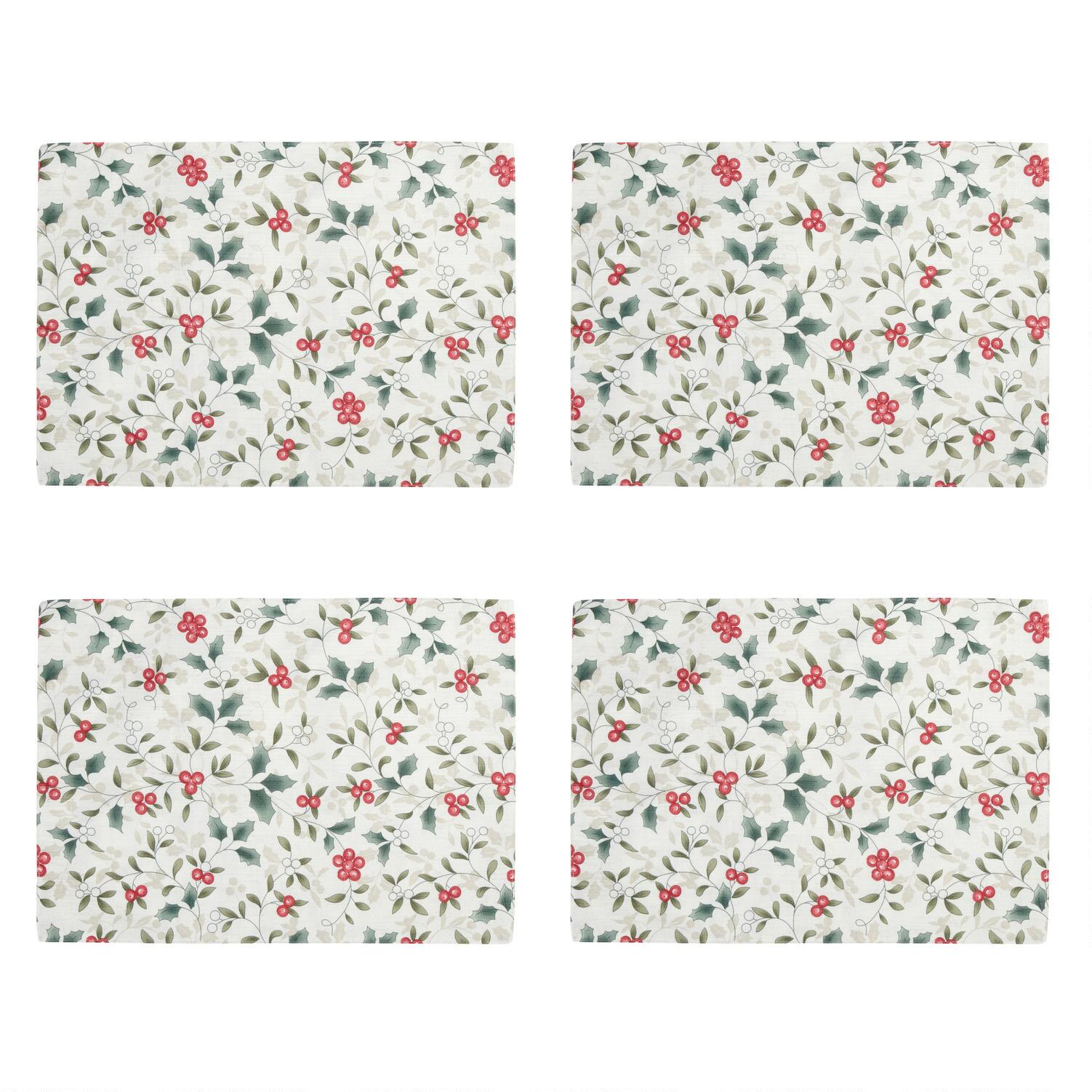 - Pine Pink by olive/&me/_studios Winter Berries Placemats Set of 4 Holiday Decor Pine Pink Red White  Cloth Placemats by Spoonflower