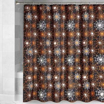 Black/Orange Glow-in-the-Dark Cobweb Shower Curtain