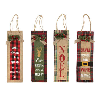 """Eat, Drink and Be Merry"" Burlap Bottle Gift Bags, Set of 4 view 1"