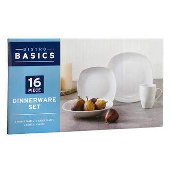 Bistro Basics Porcelain White Square Dinnerware Set, 16-Piece view 2