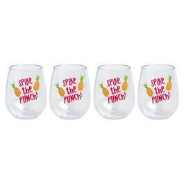 "Coastal ""Spike the Punch"" Stemless Acrylic Wine Glasses, Set of 4"