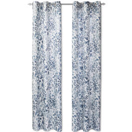 Blue Floral Putney Lenora Grommet Window Panel Pair view 1