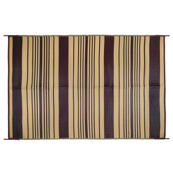 5'x7' Brown/Beige Striped Reversible All-Weather Patio Mat
