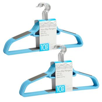 10-Pack Slim Non-Slip Plastic Hangers, Set of 2