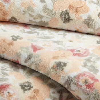 Gray/Peach Floral Velvet Berber Throw view 2