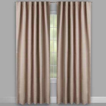 Taupe Linear Texture Rod Pocket Window Curtains, Set of 2 view 2