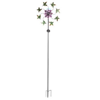 "80"" Hummingbirds Solar Flower Wind Spinner Stake"