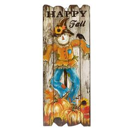 "23.25"" Scarecrow ""Happy Fall"" Fence Wall Sign"