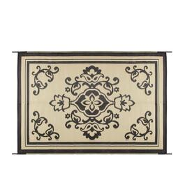 Black/Beige Medallion Reversible All-Weather Patio Mat